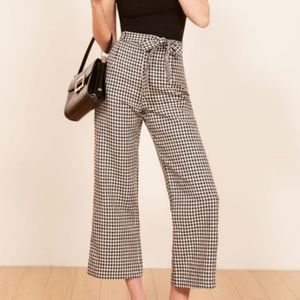 Reformation April Check Saylor Linen Pant SZ 10